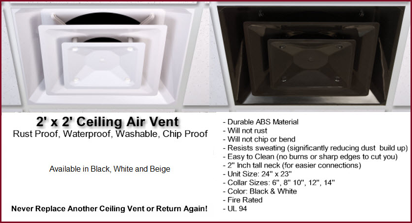 Click here for larger image and more info. Ceiling Vents   Returns   Deflectors   Diverters   Washable